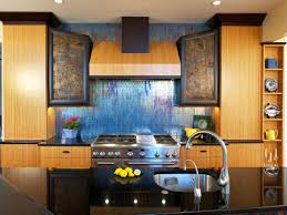 unique kitchen backsplash glass tile blue glass tile backsplash