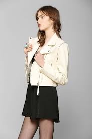 just female dagmar convertible leather moto jacket in white lyst