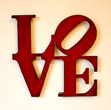 love wall art metal sign 30 tall red with rust