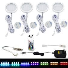 aiboo rgb led under cabinet lighting kit 4 pack color changing