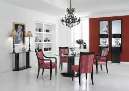 modern white and red dining room theme with built in cabinets also