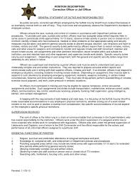 Deputy Sheriff Job Description Resume by Correctional Officer Duties Resume 10911