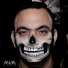 Skeleton Makeup For Halloween by Untitled U2014 Loved Painting My Barber As Half A Skull For