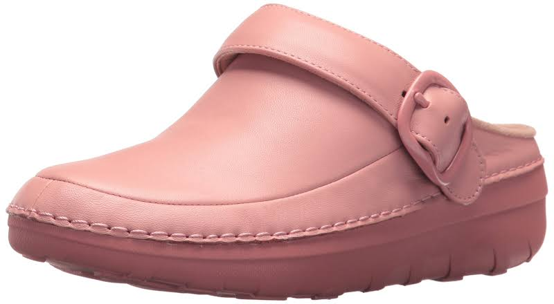 Fitflop Gogh Pro Superlight Leather Slip On Clogs Pink 7 Medium (B,M)