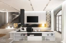 black and white and gold living room floating shelves hanging