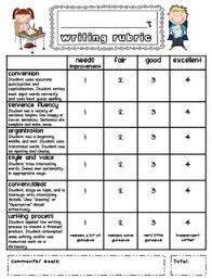 writing rubric for kindergarten