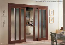 frosted glass sliding door with wooden trim for home interior