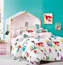 Girls Bedding Full by Amazon Com Cliab Fox Bedding Woodland Bed Sheets Full Size Kids