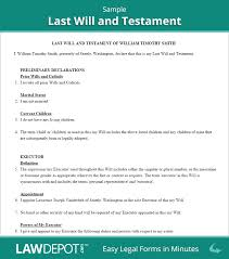 Power Of Attorney Form North Carolina by Last Will U0026 Testament Form Print Free Last Will Forms Us
