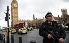 Armed police outside Westminster  as police vehicles crowd round