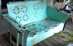 furniture aqua vintage metal porch glider awesome porch gliders