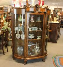 Oak Curio Cabinet Antique Oak China Curio Cabinet With Detailed Lions Heads China