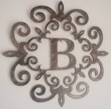 Art On Walls Home Decorating by Family Initial Monogram Inside A Metal Scroll With B Letter Wall