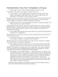 frankenstein volume ii quiz teacher edition frankenstein