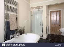 stainless steel heated towel rail above bath in modern beige