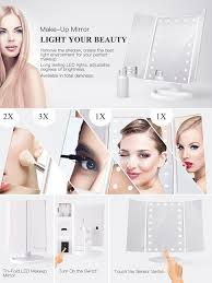 Light Up Makeup Mirror Amazon Com Bestope Vanity Makeup Mirror Trifold 21 Led Lighted