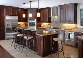 glorious dark brown finished alder cabinets with large kitchen
