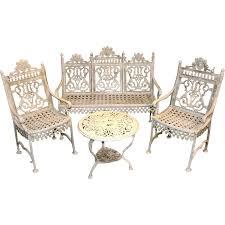 Cast Iron Patio Set Table Chairs Garden Furniture - mid 20th c victorian style cast iron 4 piece patio garden