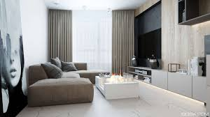 Living Room Curtain Looks Luxury Small Studio Apartment Design Combined Modern And