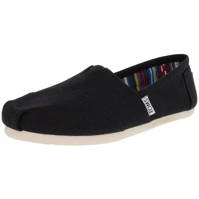 Toms Classic Canvas Black Ankle-High Slip-On Shoes 11M