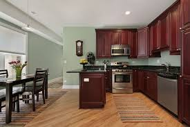 kitchen dazzling dark and wooden cabinetry also grey wall