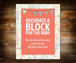 decorate a block sign baby shower sign sign a block baby