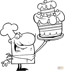 a proud chef holds up decorated cake coloring page free