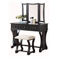 Linon Home Decor Vanity Set With Butterfly Bench Black Bedroom Vanities Bedroom Vanity Sets The Mine