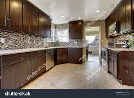 modern kitchen interior dark brown storage stock photo 449123566