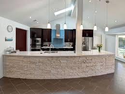 Blue Backsplash Kitchen Dazzling Stone Veener Kitchen Counter Over White Pendant Lamps