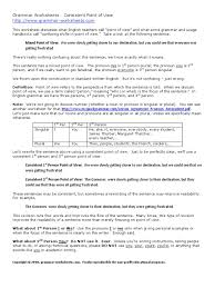 Pronouns And Antecedents Worksheet Lesson Consistent Point Of Grammatical Number Plural