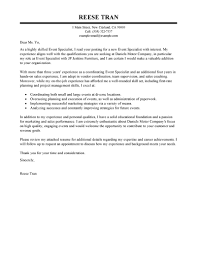 Cover Letter For A Sales Position  event specialist cover letter