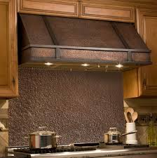 copper range hood backsplash kitchen