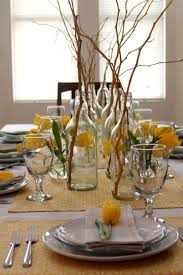 Dining Room Table Decor Ideas by Dining Room Flower With Polkadot Pot Dining Table Centerpieces