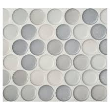 penny round mosaic graphite blend anti slip matte complete