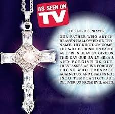 amazon com lord u0027s prayer cross pendant with matching silver chain