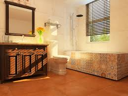 contemporary spanish style bathroom with clay color tile and