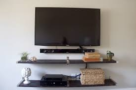 interior tv wall mount with long tempered glass shelves in black
