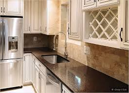 Cream Subway Tile Backsplash by Cream Cabinets With Back Splashes Brown Countertop Cream Cabinet