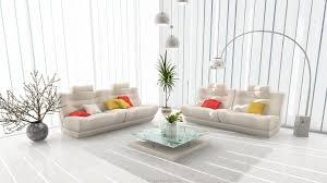 living room white ceramic floor colorful small cushion stainless