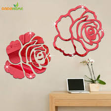 popular wall decor decal buy cheap wall decor decal lots from rose 3d mirror wall stickers for wall decoration diy home decor living room wall decal autocollant