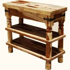 furniture mestler 3 tier rustic console table with 2 drawers