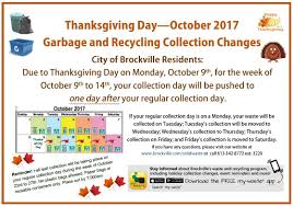 what day was thanksgiving on this year brockville garbage and recyling city of brockville