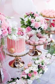 cake sweets florals from a pink white u0026 gold garden party