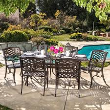 Outdoor Furniture Finish by Amazon Com Odena Patio Furniture 7 Piece Outdoor Dining Set