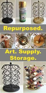 Art And Craft Studio Keurig Cup Carousel Repurposed Art Supplies Storage Cup