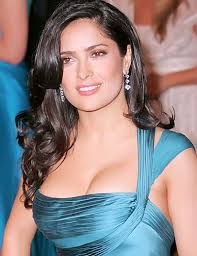 Salma Hayek in black long hairstyles with loose curls