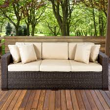 Resin Wicker Patio Furniture Sets - outdoor wicker patio furniture sofa 3 seater luxury comfort brown