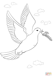 peace dove with olive branch coloring page free printable