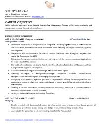 Objectives For Resumes Examples by Sample Template Of An Excellent Company Secretary Resume Sample
